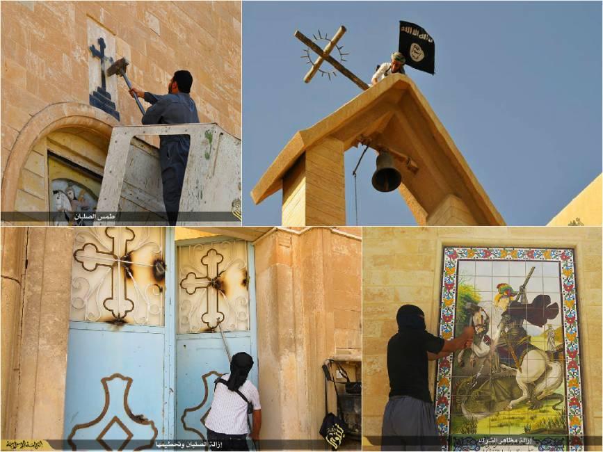 islam violento distruzione delle chiese di Mosul