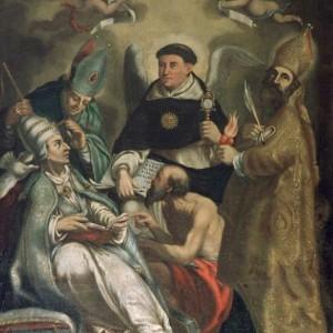San Tommaso d Aquino con San Gregorio Magno, Sant Ambrogio, San Girolamo e Sant Agostino, Maestro di Boldone